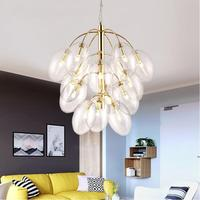 2017 New Modern G4 LED Gold/Chrome Grape Glass Globe Chandeliers 4/7/15/18 Arms for Living Room Dining Room Hotel Cafe Shop Kids