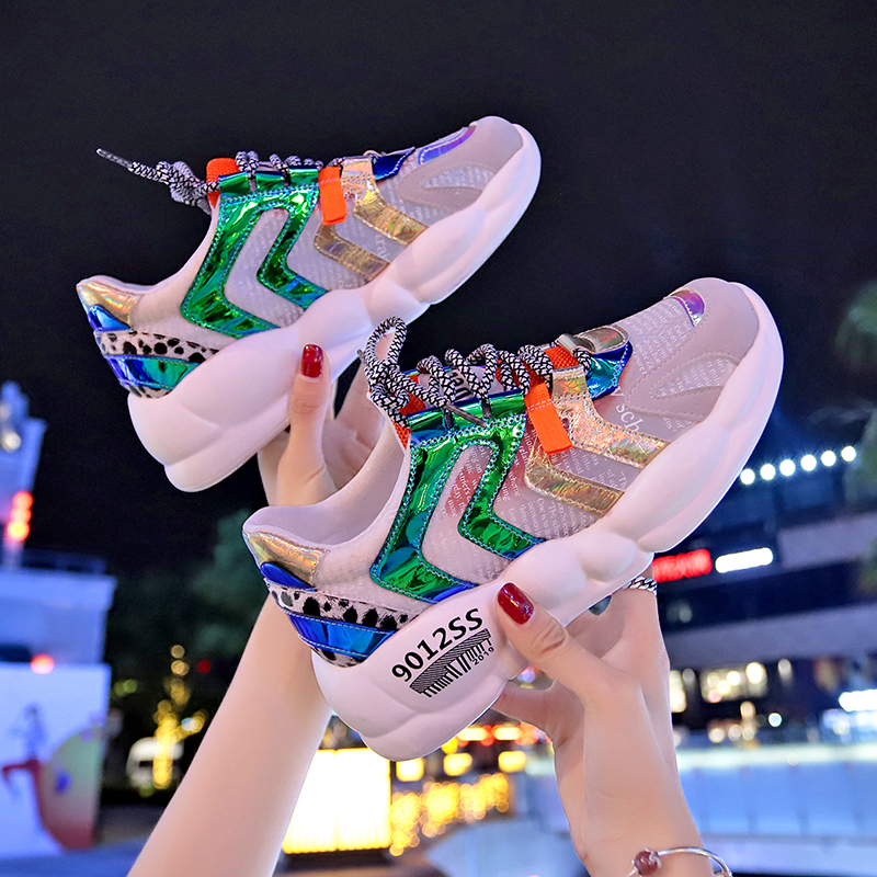 summer sneakers for women breathable mesh shoes colorful glitter street women casual shoes chunky trainers 2019 newsummer sneakers for women breathable mesh shoes colorful glitter street women casual shoes chunky trainers 2019 new
