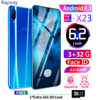 Raysray X23 Smart Phone 3G RAM+32GB ROM 3800mAh Mobile Phone 8MP+3.2MP 3G Cell Phone Dual SIM Cards Face Recognition New 2019