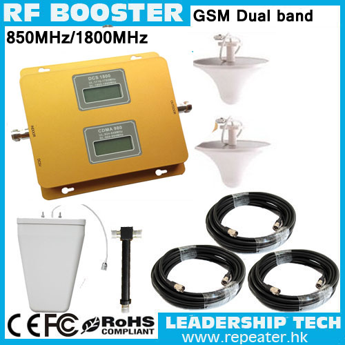 DCS&CDMA 1800mhz/850mhz Dual Band Mobile Phones Repeaters GSM1800mhz CDMA850mhz Two Band Cellular Phones Booster Up To 1000m2
