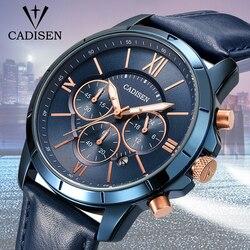 Cadisen 2018 New Luxury Quartz Watch Men Outdoor Mens Watches Sport Watches Chronograph Wristwatch Clock Leather Wrist Watch