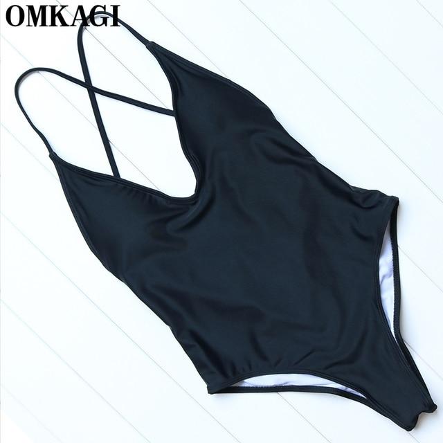 OMKAGI Brand Solid One Piece Swimsuit Swimwear Women Sexy Push Up Bodysuit Swimming Bathing Suit Beachwear Monokini 2017 Summer