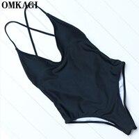 OMKAGI Brand Solid One Piece Swimsuit Swimwear Women Sexy Push Up Bodysuit Swimming Bathing Suit Beachwear