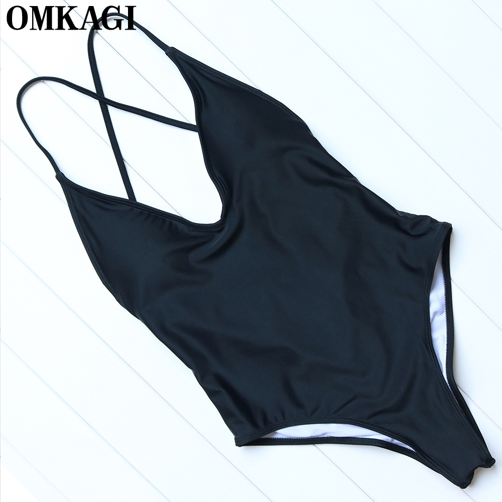 OMKAGI Brand Solid One Piece Swimsuit Swimwear Women Sexy Push Up Bodysuit Swimming Bathing Suit Beachwear