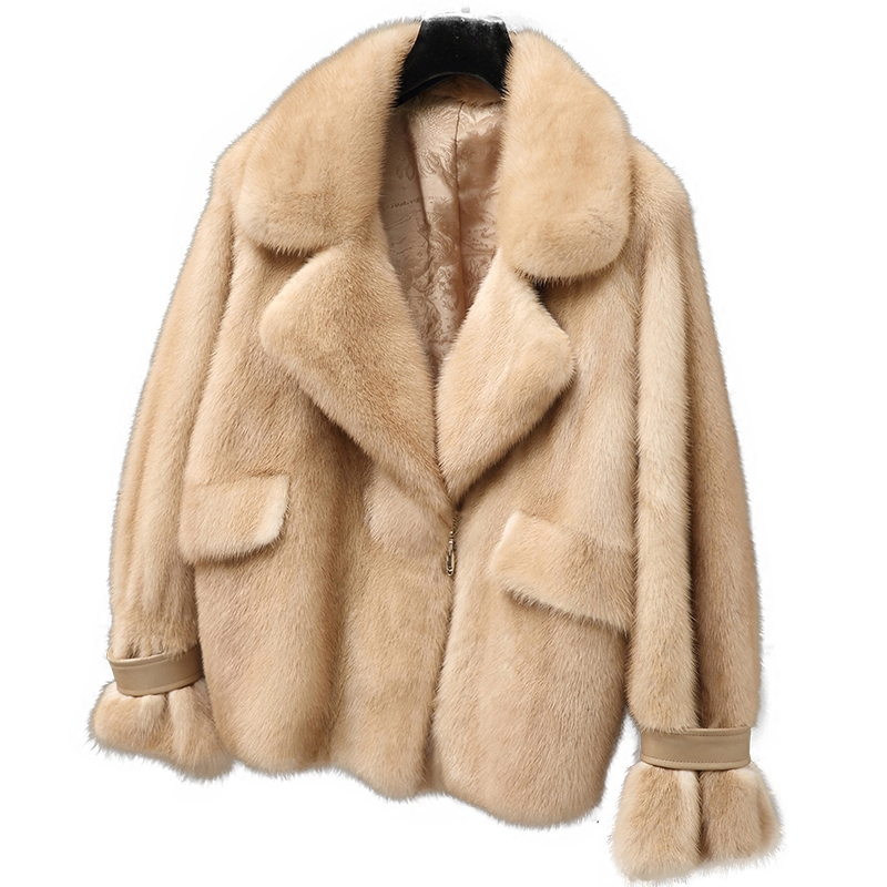 2017 New Women Natural Mink Fur Coat Whole Mink Fur Jacket Outwear