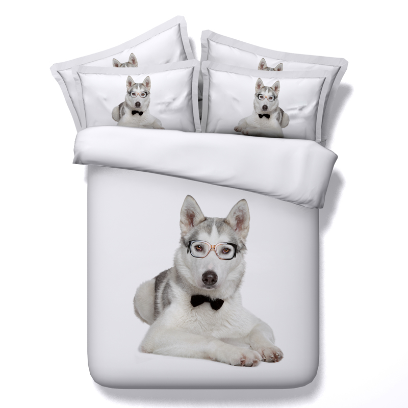 100% Modal Cotton 3d Animal Cat/dog Bedding Set Twin Queen King Size Boys  And Girls Bed Cover Bed Linens Husky Duvet Cover Set In Bedding Sets From  Home ...