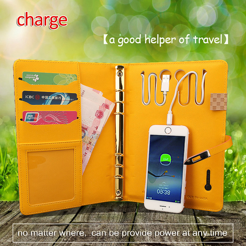 a5 filofax power bank charge daily planner organizer agenda paper loose-leaf binder charging for mobile phone