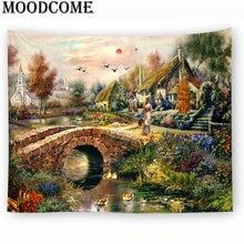 Пейзаж, живопись, настенный гобелен, дизайн распродажа, Прямая поставка, мост, река, пейзаж, Настенный Ковер