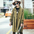 2016 Women Autumn Winter Trench Coat Loose Stand Collar Army Green Long Coat Rivets Holes Women's Windbreakers Coats MF165057