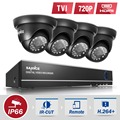 SANNCE HD 4 Channel 720P Video Surveillance System indoor Black Dome Security Camera System 4CH 4IN1 DVR CCTV System