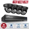 Sannce hd sistema de vigilância de vídeo de 4 canais 720 p interior 4em1 preto dome segurança camera system 4ch dvr sistema de cftv