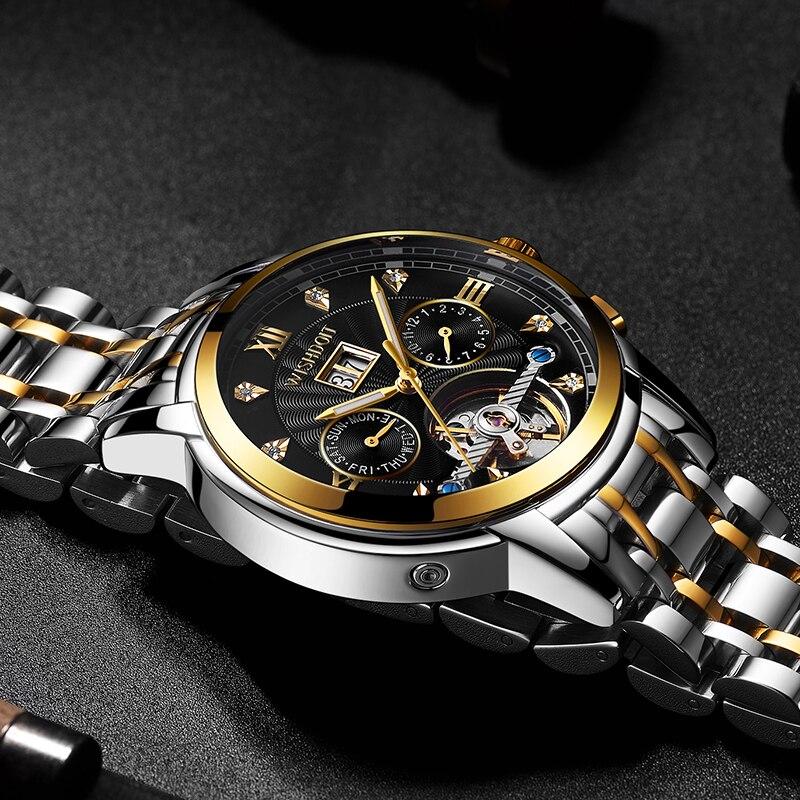 Saatler'ten Mekanik Saatler'de 2019 saat LIGE yeni erkek saatler Top marka lüks otomatik mekanik İzle erkekler tam çelik iş su geçirmez spor izle + kutusu'da  Grup 2
