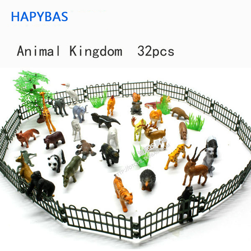 Small Plastic Animals Simulation Zoo 32pcs/set Containing Solid Various Kinds Fence Animales Model Toys For Kid Children