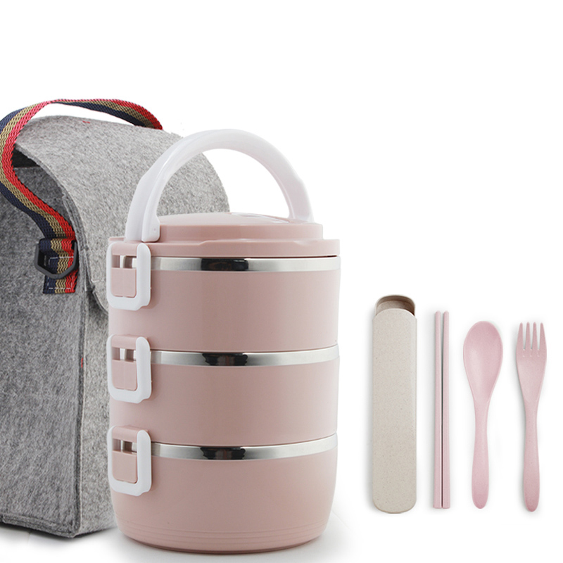 1-4 Layer Large Stainless Steel Food Container Storage Thermos Kids Adult Lunch Box Plastic Bento Boxs Leak-Proof Dinnerware Set