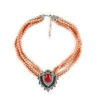 2015 perlen Kette Mode Colliers Rot Stein mehrschichtige Halskette Luxus Übertrieben Partei Schmuck Für Frauen