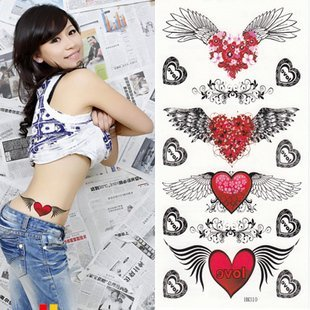 Free shipping wholesales Waterproof sexy cute Angel wings and hearts tattoos stickers