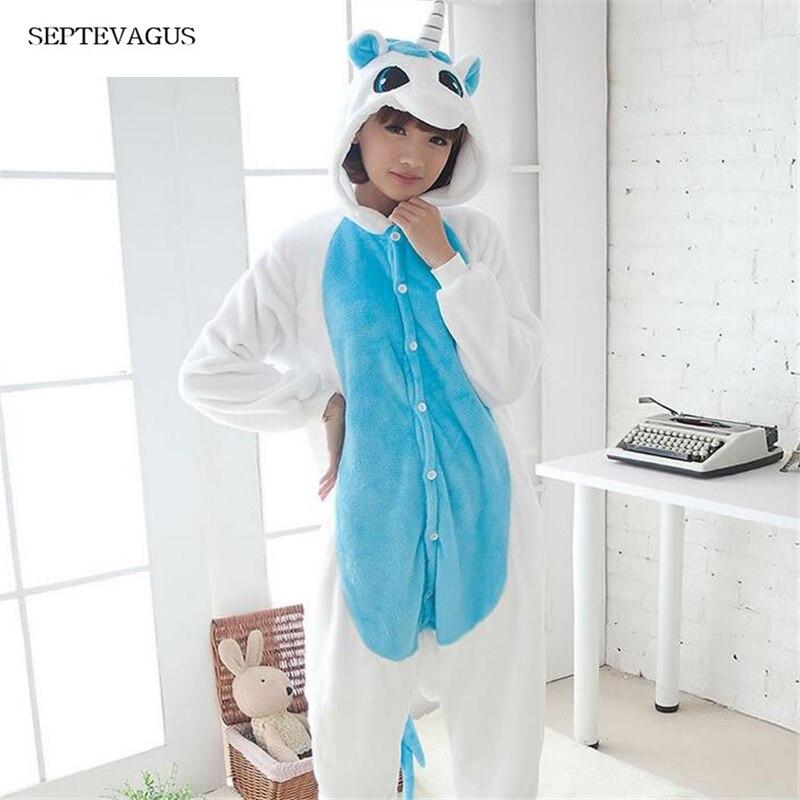Women's Warm Sleepwear Adult Winter Couple Pajamas Stitch Unicorn Animals pajamas pyjama femme;pijama licorne unicornio