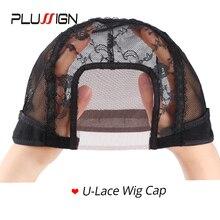 Plussign โรงงานขาย 12 ชิ้น/ล็อต 3*3.5 Inch U หมวกวิกผมลูกไม้ 22 นิ้ววิกผมลูกไม้ด้านหน้าหมวกสำหรับทำวิกผมวิกผมอุปกรณ์เสริม