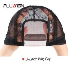 Plussign 공장 판매 12 개/몫 3*3.5 인치 U 부품 레이스가 발 모자 가발을 만들기위한 22Inch 레이스 프런트가 발 모자 가발 액세서리