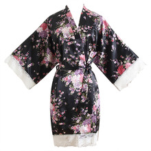 e10d386a7811 pajamas for women Satin Silk Lace Robe pyjamas sets nightwear Women Lace Cherry  Blossom Kimono Dressing