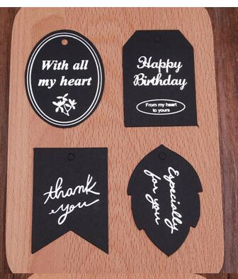 Black Red Word Pattern Paper Tags DIY Gift Decorating Tag Shape Festival Birthday Wedding Decoration Table Message Cards