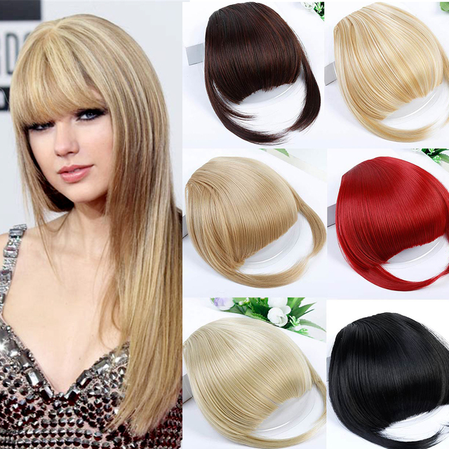 WTB Straight Flat Clip In Bangs Hair Extensions with Heat Resistant  Synthetic Fiber Fake Hair Blunt Bangs a50b9b720eb