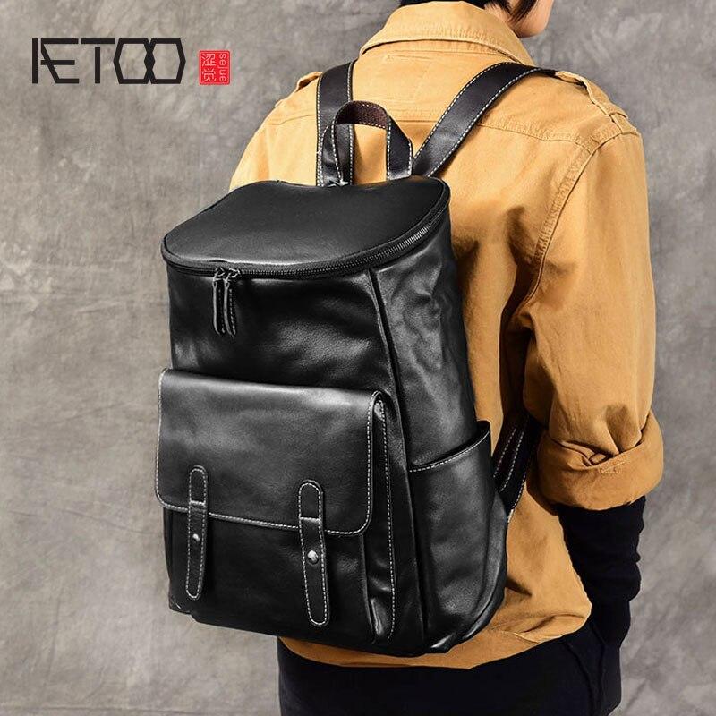 AETOO Soft cowhide British wind original handmade men's first layer of leather backpack leather backpack bag подушка ортопедическая original soft