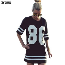 Summer Style T Shirt Women Celebrity Number 86 Print Tops Casual Long Loose Hip Hop Top Tees Ladies T-shirt Blusas Plus Size