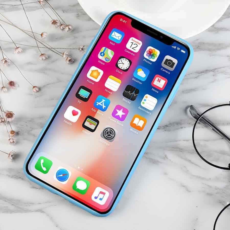 Luxury SKY Biru Lembut Silicone Ponsel Case untuk iPhone X XR X Max 5 5S SE 6 6S 7 8 Ditambah 11 Pro Max 2019 6.5In Cover Coque Fundas