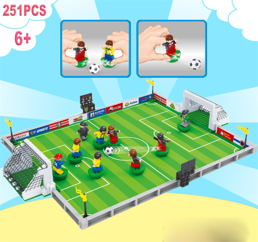 New World Football Team Player Football Field Fit Soccer Figures Ronaldo Messi Building Blocks Bricks Toy Kids Gift Cup