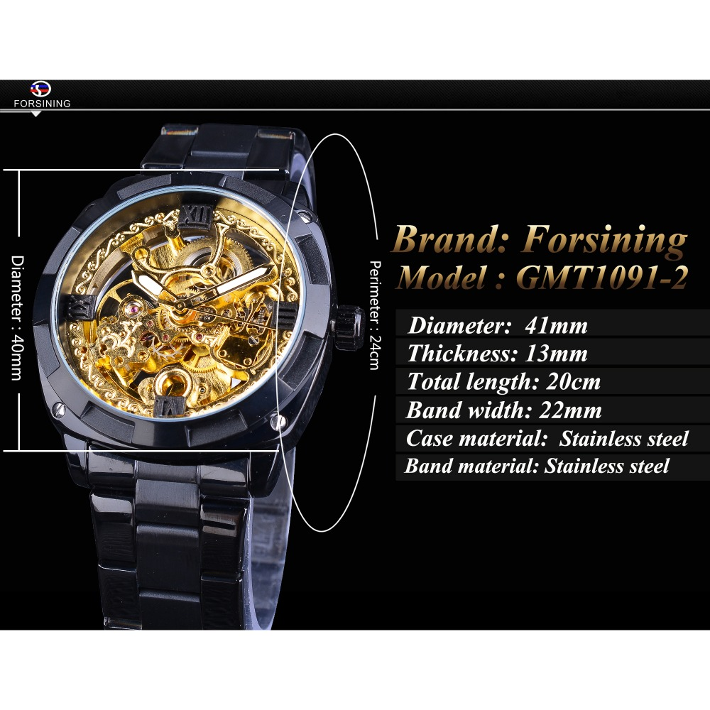 2e09601e0 Forsining Retro Design Golden Skeleton Black Stainless Steel Transparent  Watch Men Automatic Mechanical Watches Top Brand Luxury-in Mechanical  Watches from ...