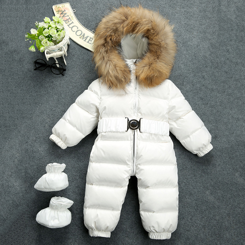Baby Snowsuit Russia Winter Natural Raccon Fur Collar Hooded Thicken Jumsuits for Baby Boys Girls Duck Down Jacket Snow Wear winter baby snowsuit baby boys girls rompers infant jumpsuit toddler hooded clothes thicken down coat outwear coverall snow wear