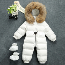 Baby Snowsuit Russia Winter Natural Raccon Fur Collar Hooded Thicken Jumsuits for Baby Boys Girls Duck Down Jacket Snow Wear