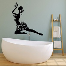 Bathroom Decor Girl With Bubbles Silhouette Wall Sticker Shower Style Vinyl Decal Bubble Art Mural AY862