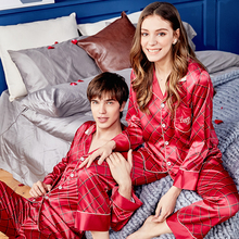 Xifenni Silk Pajama Sets Female High Quality Faux SILK Couple Sleepwear Man Woman Red Plaid Long-Sleeve Nightwear 2-Pieces X9936