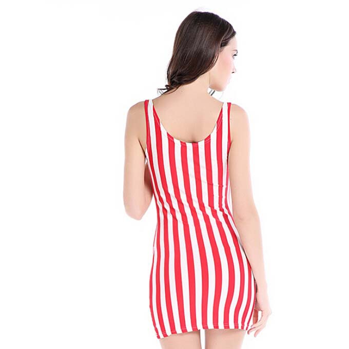 1943f1f8ee5 Rough Vertical stripes red white vertical stripe design short slim elastic  print sleeveless one piece dress fashion sexy dress-in Dresses from Women s  ...