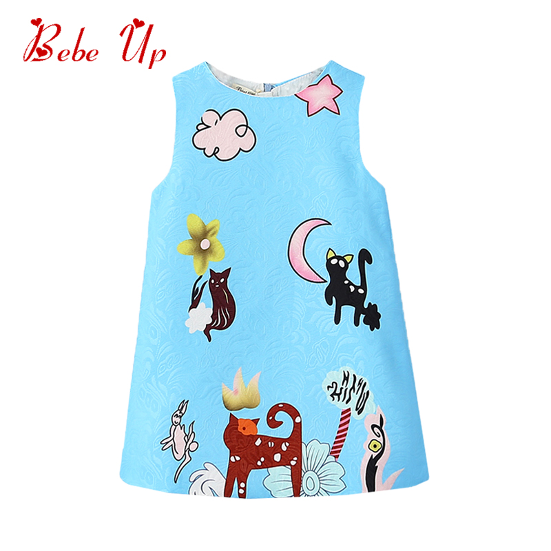 Kids Dresses For Girls Cute Fashion Girl Party Dress Spring Kids Teen Clothes Sleevless Toddler Girl Princess Dress With Cats