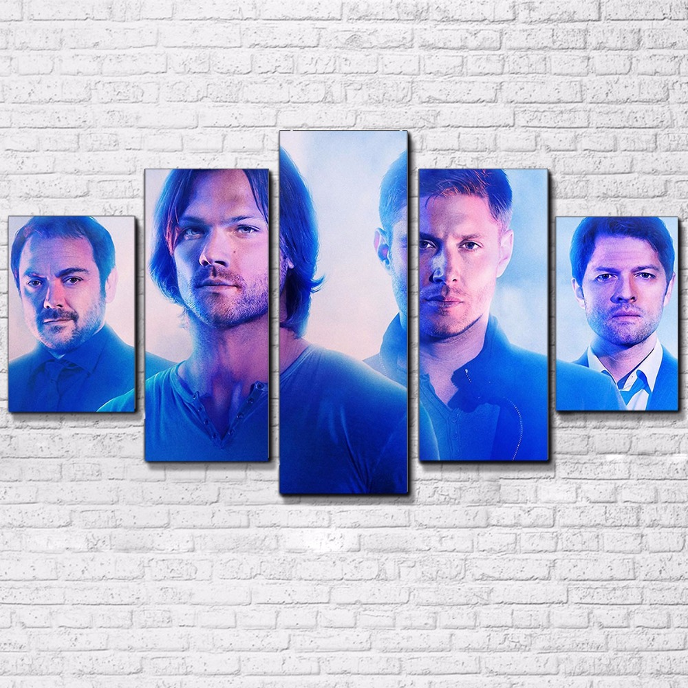 Modern Canvas Pictures Wall Art Frame Home Decor Living Room HD Printed Posters 5 Pieces Supernatural TV Series Painting PENGDA