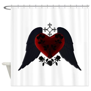 Black Winged Goth Heart Decorative Fabric Shower Curtain For The Bathroom With 12 Hooks