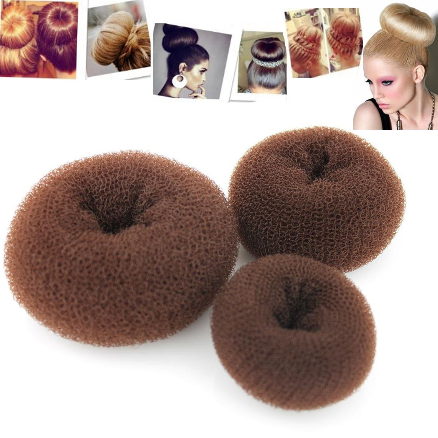 3 PCS Classy Round Brown Hair Former Doughnut Ring Styling Mesh Chignon Maker Tools Hair Bun Maker Fashion Hair Styling Tools