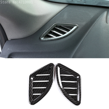 Carbon fiber Style ABS Chrome Car Dashboard Air Conditioning Outlet Vent Cover Trim For BMW X1 F48 2016-2018 X2 f47 2018 black ash wood car abs chrome console gear shift decoration cover trim for bmw x1 f48 2016 2018 x2 f47 2018 lhd