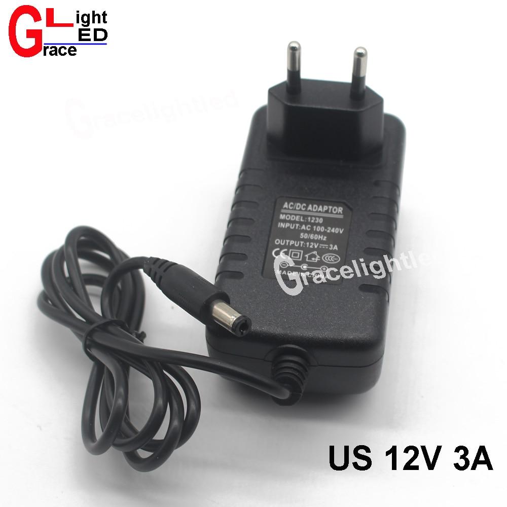 1 шт. AC 90-240 В светодиодный ЕС США драйвер для DC 12 В 3A 36 Вт адаптер Зарядное устройство блок питания светодиодный светильник