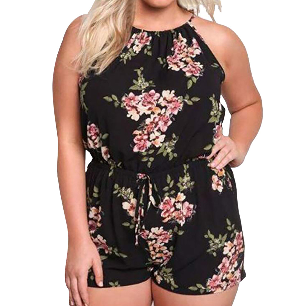 plus size 5XL Overalls for women boho style vintage floral Print playsuit women Sleeveless O-Neck female Rompers Short   Jumpsuits