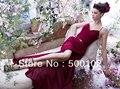 Glamorous Burgandy Spaghetti Strap Sweetheart Pleated Side Slit Bridesmaid Dresses