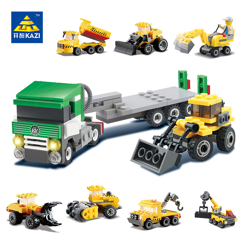 KAZI City Engineering Model Building Blocks Sets Car Mixer Truck Vehicle Crane Forklifts Bricks Educational Toys for Children decool 3114 city creator 3in1 vehicle transporter building block 264pcs diy educational toys for children compatible legoe