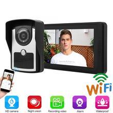 7 Inches LCD Wired Video Door Phone Intercom Doorbell App Remote Unlocking Video Recording AU/UK/EU/US Plug aj 138 7 lcd wireless video door phone black us plug
