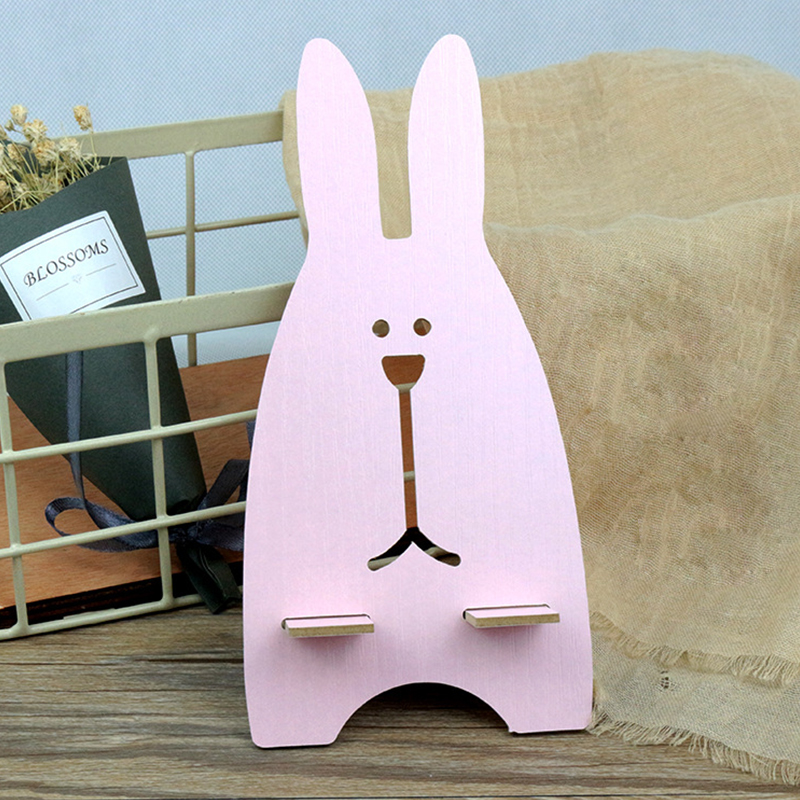 Cartoon Rabbit Wooden Phone Holder Stand For IPhone 5 5S SE 6 For Samsung Note 9 S9 S8 S7 Universal Cell Phone Desk Stand Holder