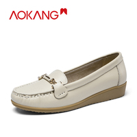 AOKANG Women Casual Loafers shoes 2019 soft Candy Color Slip on Shoes Ballet wedges leather heel Ladies shoes woman zapatos muje