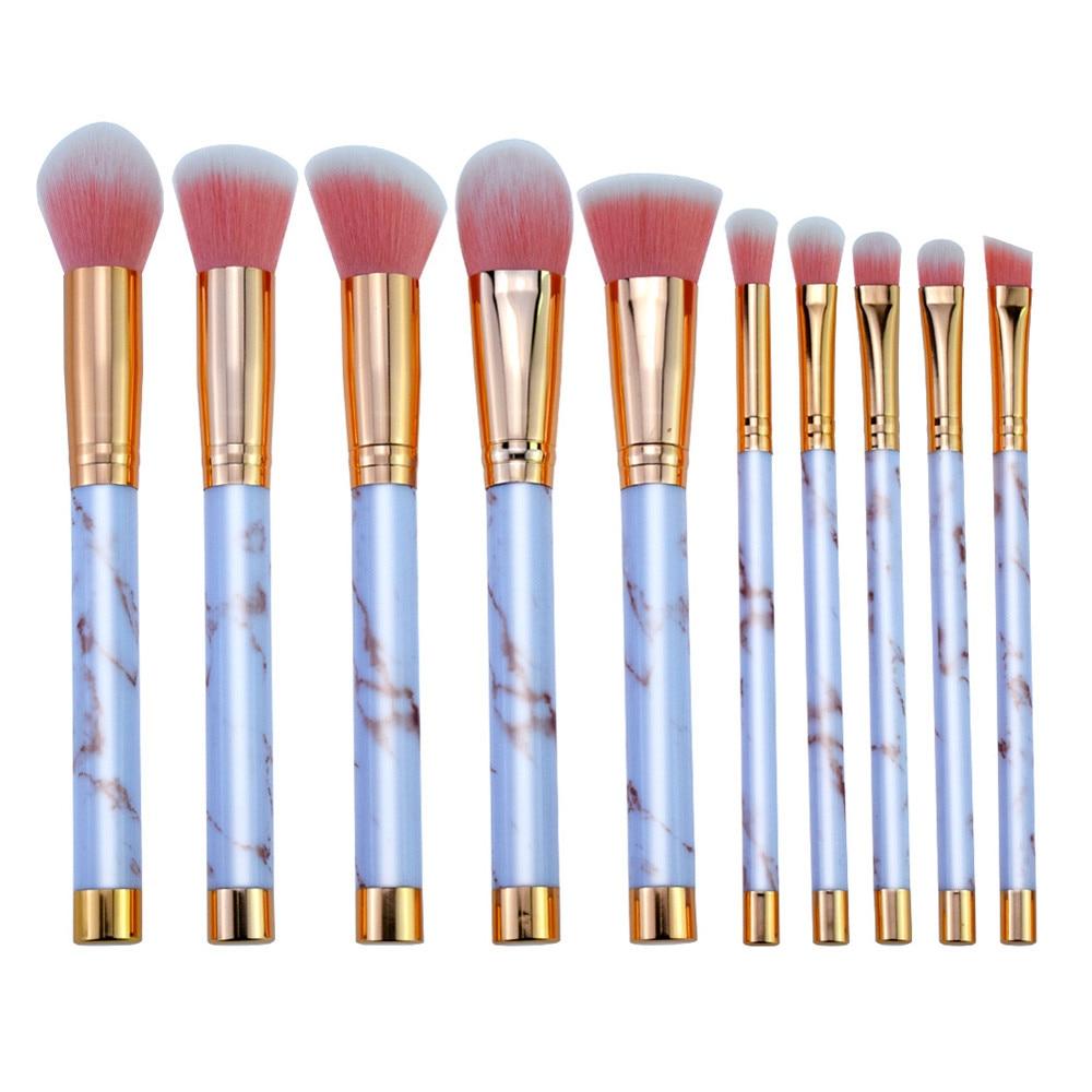 2018 New Fashion 10 Pcs Marble Makeup Brush Set Eye Shadow Brush Cosmetics Blending Brush Tool Pincel Maquiagem Drop Shipping
