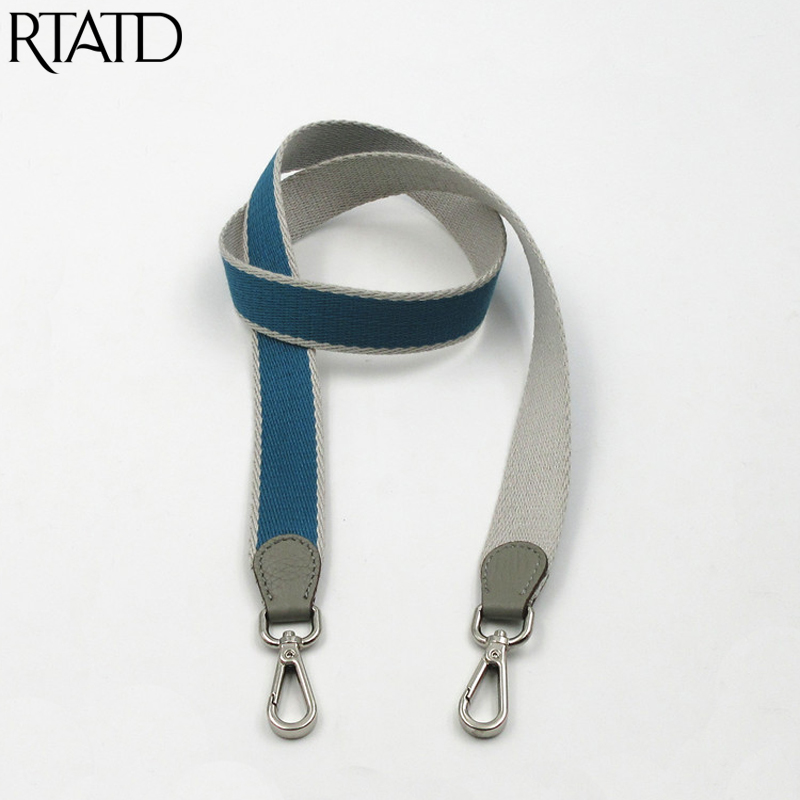 New Canvas + Leather Women Bag Strap Trendy Customize Lady Shoulder Strap Chic Handle For Bag Parts Q0220